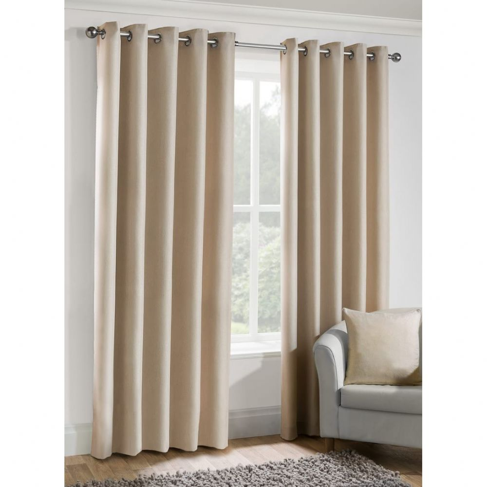 Luxury Versailles Semi Plain Woven Fabric Ringtop Eyelet Fully Lined Curtains Oyster